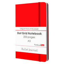 Red Leather Cover Bullet Journal Notebook for Women, A5 Dot Grid Paper 200 Pages