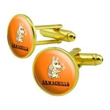 Round Cufflink Set Gold Color Armachillo Armadillo Chilling Funny Humor
