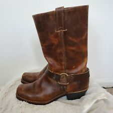 Vintage Womens Brown Frye Leather Harness Motorcycle Biker Boots 11