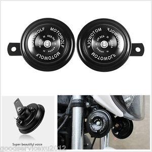 One Pair Metal Black Surface DC12V 110DB Motorcycle Super Loud Tone Snail Horns