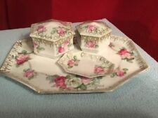 Antique RS Prussia 3 Pc Vanity Dresser Set Porcelain Roses, Tray Trinket