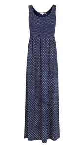 Fat Face Freya Batik Ditsy Print Maxi Dress Navy Size UK 14