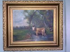 Antique Oil Painting Folk Art Cow In Period Frame (1880's) Nice Look!