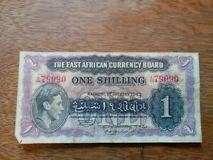 East African Currency Board One Shilling 1/- a44 79090 1st January 1943