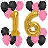 "30"" 16th Birthday Wedding Anniversary Foil Balloons Pink Black 10"" Pannu baloon"