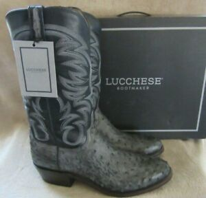 LUCCHESE N1195.R3  Anthracite Grey Full Quill Ostrich Boots Shoes US 10 D NWB