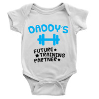 Daddy's Future Training Buddy Babygrow Workout Gym Dad Present Baby Boy Son Gift