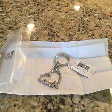 Coach Pave Script Heart Keychain. Silver F92631 NWT