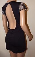 VICKY MARTIN black backless cut out fitted bodycon sequin mini dress 12 BNWT