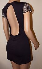 VICKY MARTIN black backless cut out fitted bodycon sequin mini dress 14 BNWT