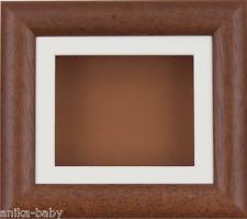 "6x5"" Dark Wood Box display frame Cream mount & Brown Backing Objects Art Framing"