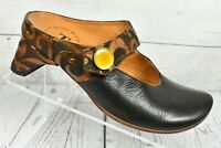 THINK! Brown Leather Mary Jane Mules Slip Heels Comfort Shoes EU 36 US 5.5M
