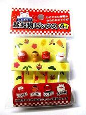 Japanese Lunch Box Bento Food  Picks DARUMA KOKESHI LUCKY PICKS 4kinds 4pcs