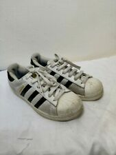 Boys Adidas Trainers Superstar White Black Shoes Size 3 Used