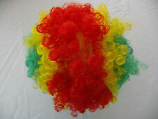 Multi Color Red Green Curly Short Clown Party Wig Halloween Costume Child size