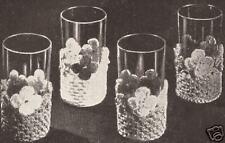 Crochet Flowers Glass Jackets Coasters Sleeves Pattern