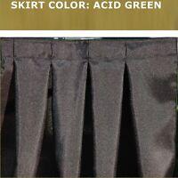 14 FOOT ACID GREEN BOX PLEAT TABLE SKIRT & FREE VELCRO SKIRTING CLIPS!