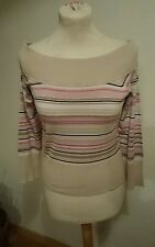 Womens beige Pink top 12 ,3/4 sleeve viscose stretch NEW LOOK Vintage