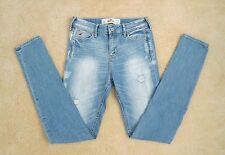 NEW Hollister Womens Destroyed Skinny Jeans High Rise Size 1 Light Wash Pants