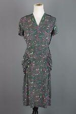 VTG 40s Mallard Green Rayon Cityscape Print Peplum-style Dress #1446 1940s