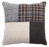 Tartan Patchwork 18 inch / 45cm Charcoal Grey & Black Cushion Cover Tweed Wool