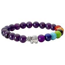 Unisex Fashion Elephant Charm Healing Balance  Natural Stones Beaded Bracelet