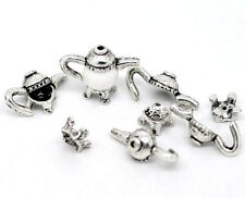 10 Sets Newest Silver Tone Teapot Charm Bead Caps Set 21x11mm