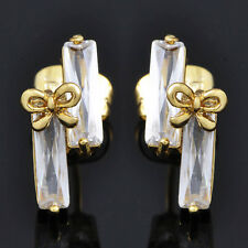 Childrens Jewellry 14k Yellow Gold Filled Sapphire Cute Bow Stud Earrings