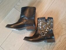 Women's STEVE MADDEN Galia Black Leather Studded Boots; Sz 7;  Ret $150; EUC