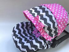 baby car seat cover canopy cover 100% cotton set fit most infant car seat girl