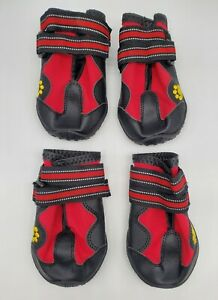 PROTECTIVE DOG BOOTS, Size 7 Med - Large, Rubber Sole, Snow Rain, Double Adjust
