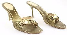 Rene Caovilla - Gold Green Leather Open Toe Heel Mules Shoes - Size 40 / 10