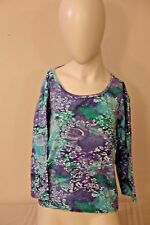 Take Two Women's Top~PXL~Blue~Lavender~Floral~Bling~3/4 Sleeve~Boat Neck~VGC