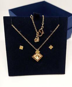 "Swarovski Gold Tone Pendant & Earring Honey Set 15"" + 2"" New in Box 5030702"