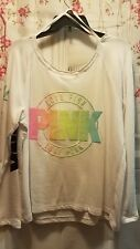 Pink Victoria's secret White Pullover Watercolor Large