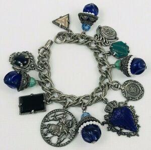 Medieval Knight Charm Bracelet Chunky Blue Plastic Bead Shield Vintage Style