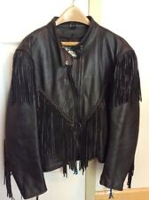 Women's Black Leather  Motorcycle  Classic Jacket size 12 With Fringe See Photos