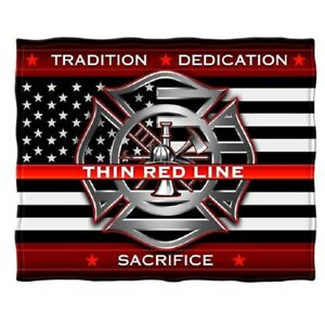 New Fireman Thin Red Line Plush Fleece Throw Gift Blanket Firefighter Rescue EMT