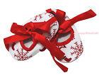 Christmas Red White Snowflakes Sock Ribbon Infant Newborn Baby Crib Shoes NB-18M