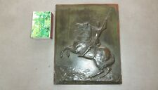 Ancien bas relief Jeanne d'Arc à cheval signé LR PIRON BORREL Edition En Étain