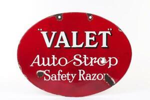 "Vintage c1930 ~ ""Valet"" ""Auto Strop Safety Razor"" Double Sided Enamel Sign"