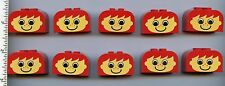 LEGO x 10 Red Brick, Modified 2 x 4 x 2 Double Curved Top with Yellow Face Basic