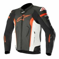 GIACCA ALPINESTARS IN PELLE MISSILE TECH-AIR NERO/BIANCO/ROSSO