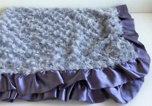 "Baby Blanket Minky Rosette Swirl Fluffy Satin Gray/Blue Lining 2"" Ruffle 38""x29"""
