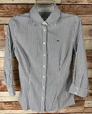 LACOSTE Boy's Stretch Long Sleeve Shirt - White/Navy Stripes Size 8