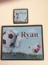 Personalised Placemat and Coaster Set - Football  Design