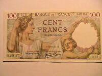 1941 France 100 Francs CH AU WWII French Banque de France Currency Banknote p94
