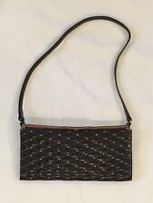 BEVERLY HILLS BAG LADY Black Leather W/ Metal Leather Tusk Handbag 5x10 Inches