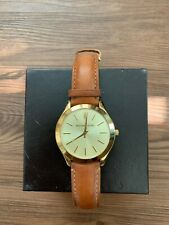 Michael Kors Oversized Slim Runway Watch Gold-Tone with Leather Band