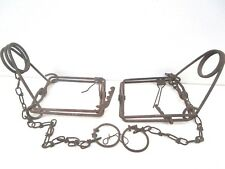 """2 Metal Snare Leg Traps Small Animal Foot 5"""" x 5"""" Square w/12"""" Chains Vintage"""
